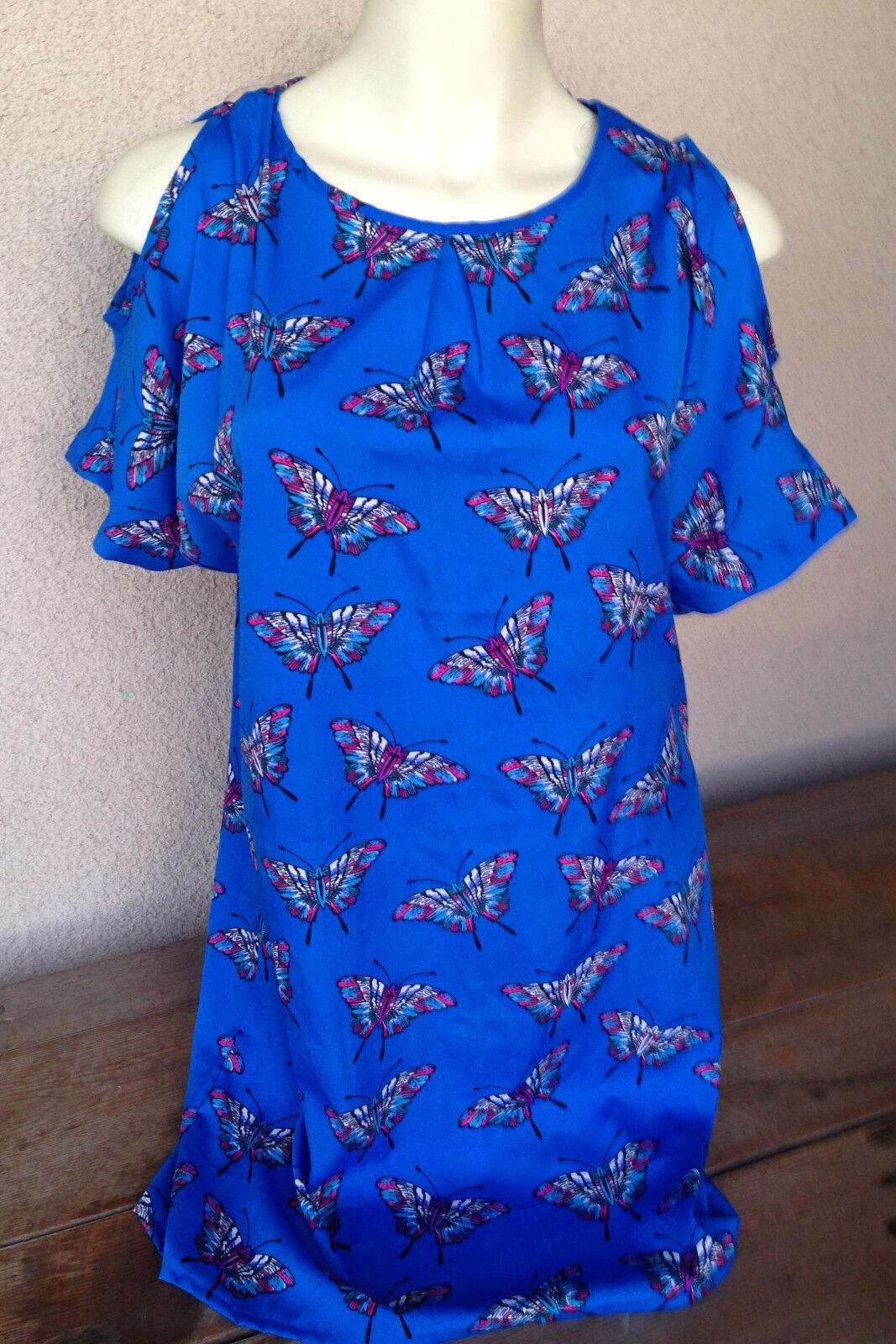 Womens Dress Small Tramp Royal bluee Butterflies Short Open Sleeve NWT Jersey S
