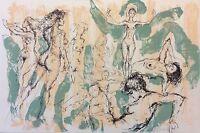 Léo Ferré illustrée par Pecnard litho originale 20 anarchisme  Femme nue