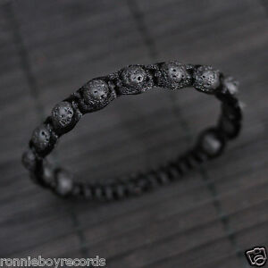 Lava Beads Black Shamballa Macrame Braided Boho Bracelet Men Women