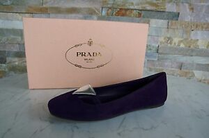 PRADA-Gr-37-5-Ballerinas-Slipper-Schuhe-shoes-1F355F-violet-NEU-ehem-UVP-390