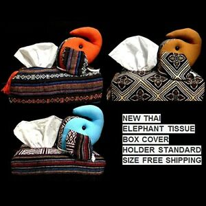 NEW THAI ELEPHANT TISSUE BOX COVER HOLDER  STANDARD SIZE FREE SHIPPING