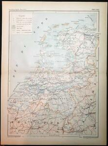 c1899-ANTIQUE-PRINT-COLOUR-MAP-of-PAYS-BAS-Netherlands-FRENCH-Carte