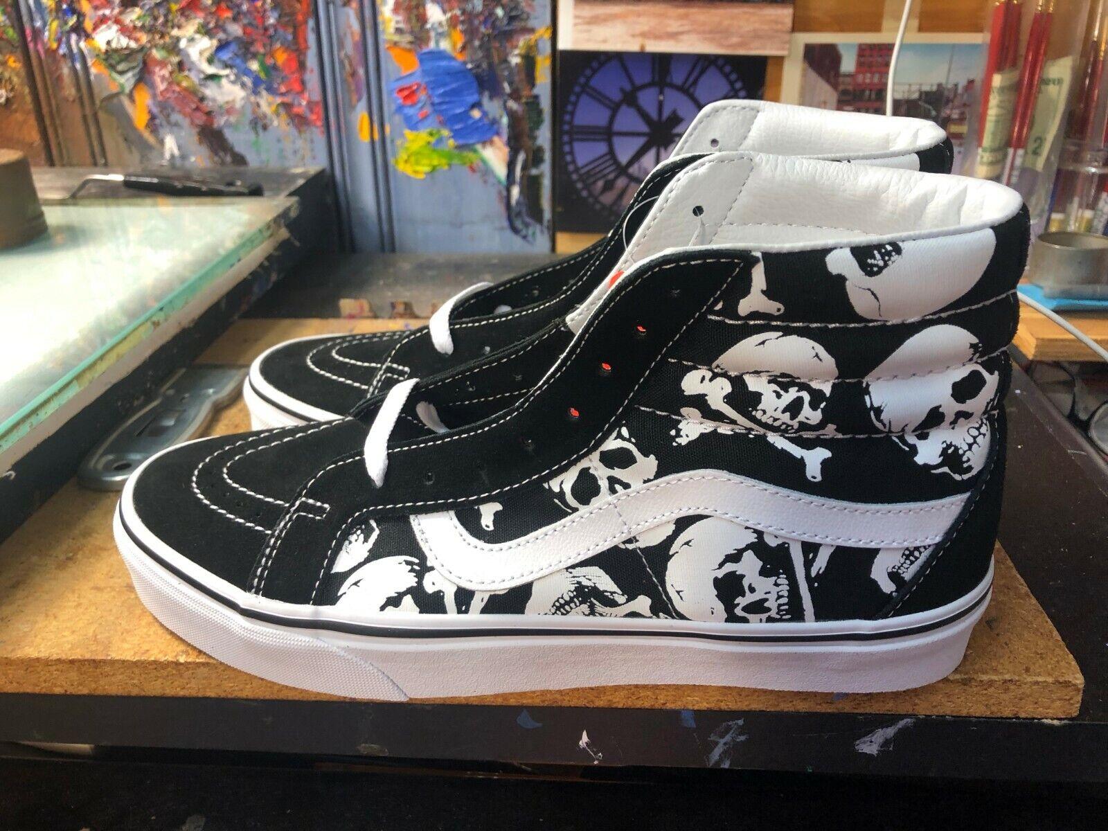Vans Sk8-Hi Reissue Skulls Black White Suede Canvas US 10 Men's VN0A2XSBH0B New
