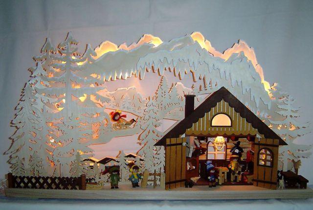 Größer Schwibbogen Lichterbogen 3 D mit 5 Figuren Skihütte Erzgebirge NEU 10639