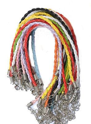 Wholesale New 10/100pcs Man-made Leather Cord Braid Rope Bracelet Jewelry Making