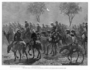 CAMELS AND HORSES THE DESERT MARCH, TROOPS SOLDIERS, KHARTOUM HISTORY ENGRAVING
