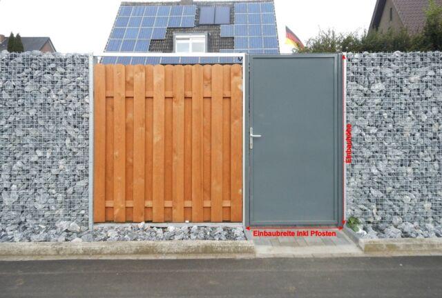 Pforte Tür Eingangstor Gartentor Hoftor Grau Beschichtet 105cm x180cm Biemenhors