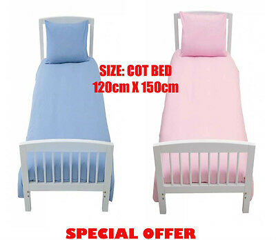 NEW BABY COT BED DUVET COVER+PILLOWCASE 120cmX150cm BLUE / PINK / PURPLE / WHITE