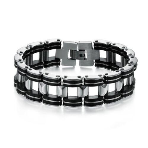 """Bracelet Chaîne Moto Homme  Acier Inoxydable Silicone Noir /""""/""""SUPER LARGE 2 CM/""""/"""""""