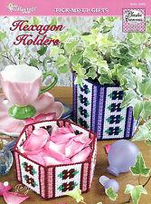 Hexagon Holders ~ Floral Baskets plastic canvas patterns