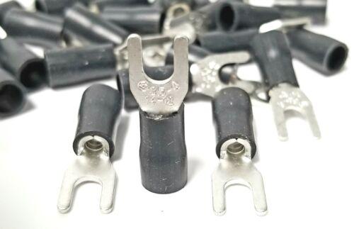 100pcs BLACK FORK SPADE TERMINAL 14-12GA #8 VINYL INSULATED CRIMP WIRE CONNECTOR