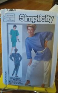 Oop-Simplicity-Easy-7383-misses-loose-pullover-tunic-overlap-pants-sz-12-16-NEW