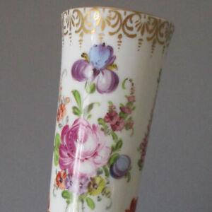 "Antique DRESDEN HP 10"" Tall Porcelain Vase Colorful FLOWERS Gilt Accents + Trim"