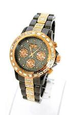 Softech Diamante Dial & Bracelet Designer Bronze & Rose Gold Watch Extra Battery