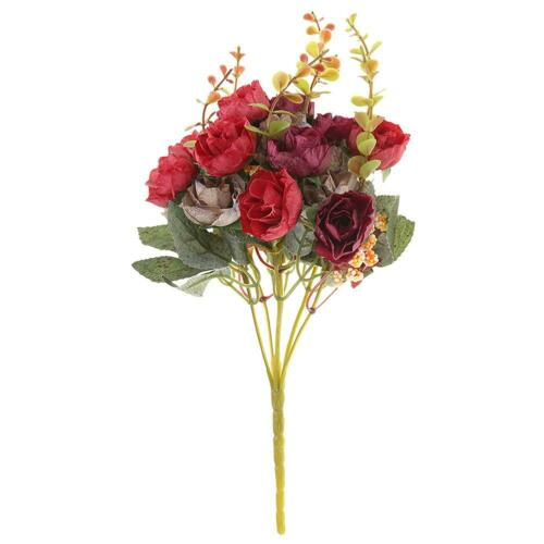 21 Heads Bouquet Artificial Rose Fake Garden Dried Plant Flower Home Decor DIY