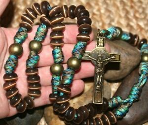 Chocolate-Brown-Stone-and-Bronze-Paracord-Unbreakable-Rosary-DC-537