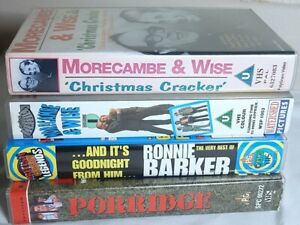 4-Comedy-VHS-video-039-s-Ronnie-Barker-Morcambe-amp-Wise-x-2-and-Porridge-the-movie