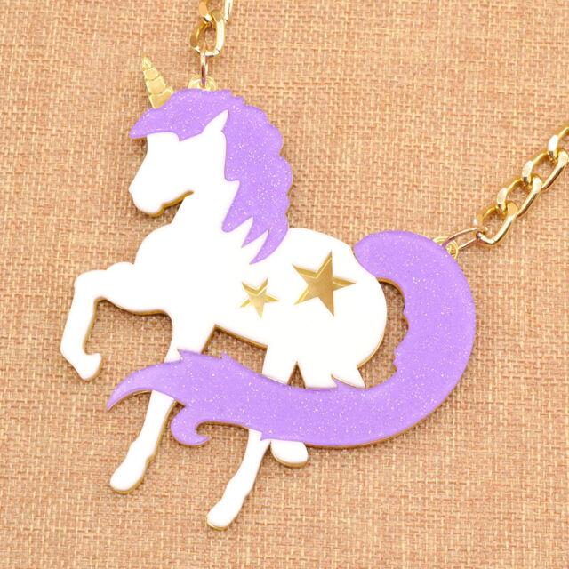 Glitter Unicorn Acrylic Statement Exaggerated Necklace Purple Kawaii Fashion