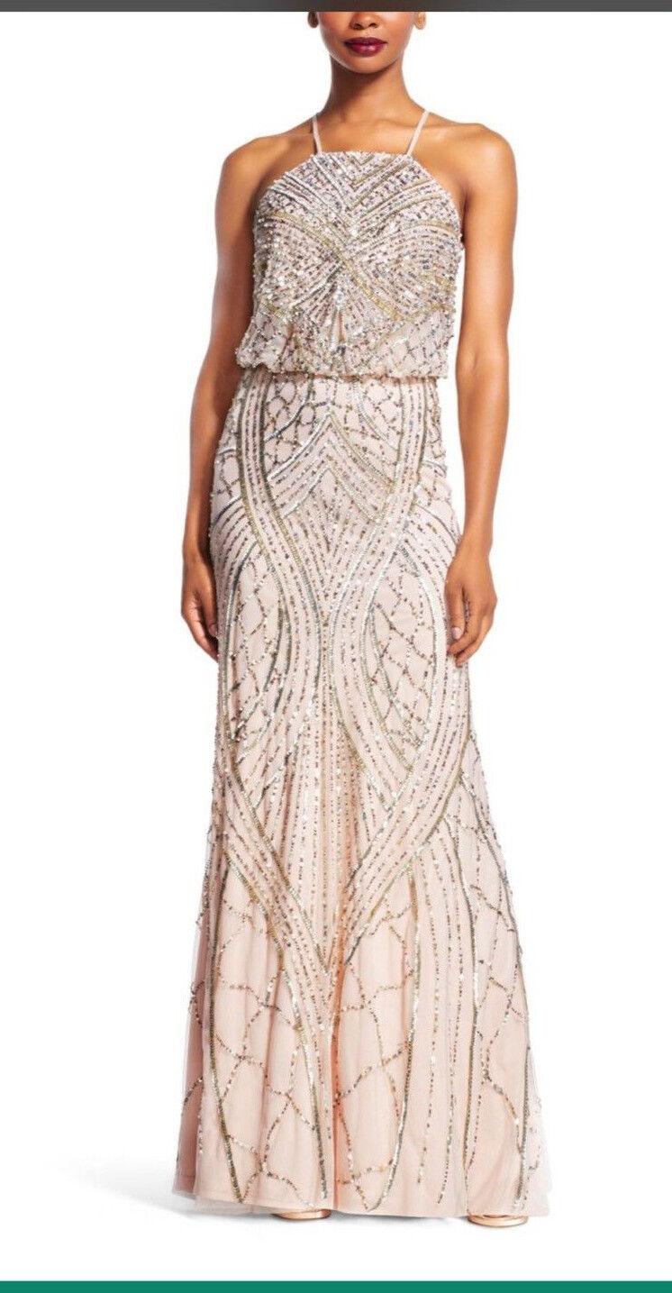 ADRIANNA PAPELL LONG GOWN LENGTH 62'  HALTER BlauSON BEADED DRESS Größe 14 SHELL