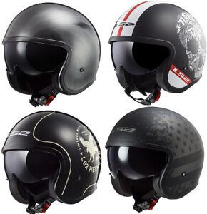 53-54cm LS2 OF599 Spitfire Double Visor Open Face Motorcycle Motorbike Helmet Black XS