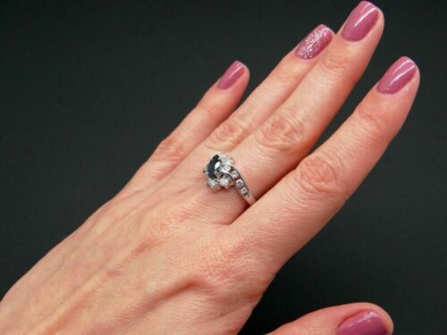 Details about  /Women/'s 1.20CT Marquise Cut Blue Sapphire 14K White Gold Finish Wedding Ring