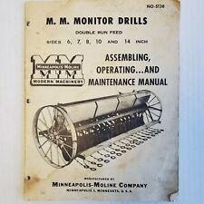 Minnepolis Moline Operation Manual Monitor Drills 67810 14 Inch No S136