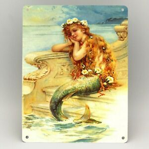 Vintage Pretty Mermaid Bath Salts Girl Sea Advert Metal Sign Plaque Bathroom