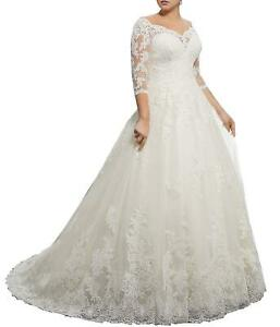 Details about 2019 A-Line 3/4 Sleeve Plus Size Wedding Dress Lace Gowns for  Bride White Ivory