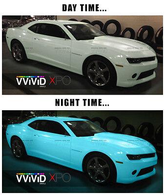 Glow in the dark blue green car wrap vinyl 5ft x 5ft VViViD XPO air free decal