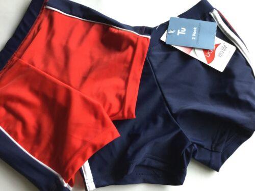 Boys 2 pack Swimming Trunks 1 Red /& 1 Navy Bue