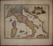 stampa antica mappa carta geografica italia willem janszoon blaeu 1635