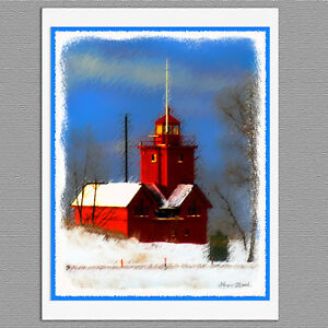 6 big red lighthouse holland michigan blank art note greeting cards image is loading 6 big red lighthouse holland michigan blank art m4hsunfo