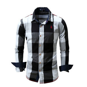 New-Mens-Checks-Cotton-Luxury-Casual-Denim-Long-sleeve-Slim-Dress-Shirts-XT429