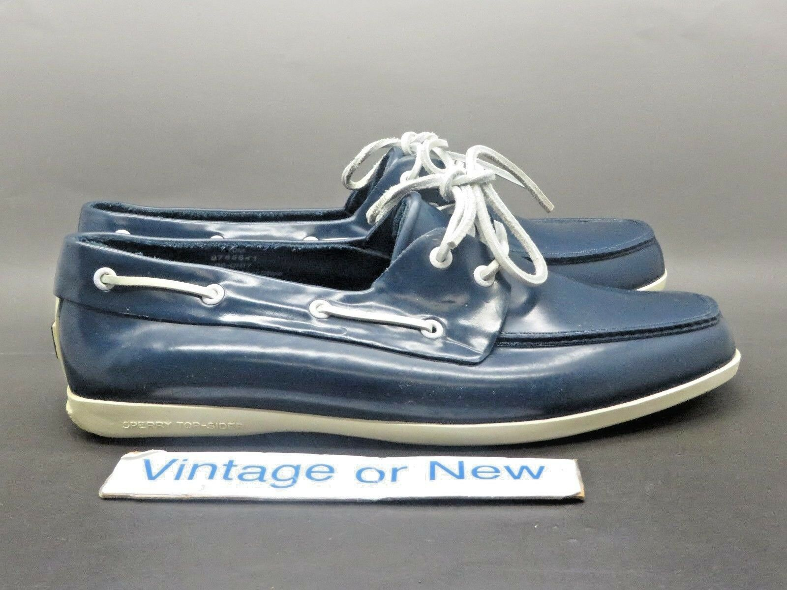 Men's Sperry Top-Sider Navy bluee White Rubber Rain Boat shoes sz 10 M