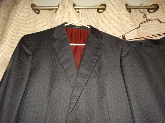 BETENLY 42L 42 long charcoal grau striped Nico wool suit 34 x 31 pants dual vent