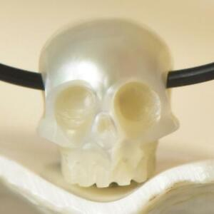 9-85mm-Human-Skull-Bead-Carving-White-Freshwater-Pearl-1-10g-horizontal-drilled