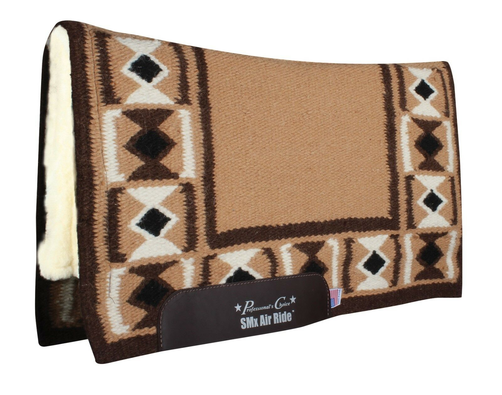 Professional's Choice HOURGLASS Tan Chocolate Air Ride Western Saddle Pad Pro