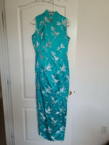 Vintage Teal Cheongsam Qipao Dress - image 1