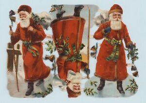 Uralter-Bogen-gepraegte-Weihnachtsmaenner-Oblaten-12-cm-DIE-CUT-SCRAPS