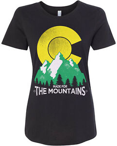 cb932bb1be53 Made For the Mountains Colorado Women's Fitted T-Shirt State Flag | eBay