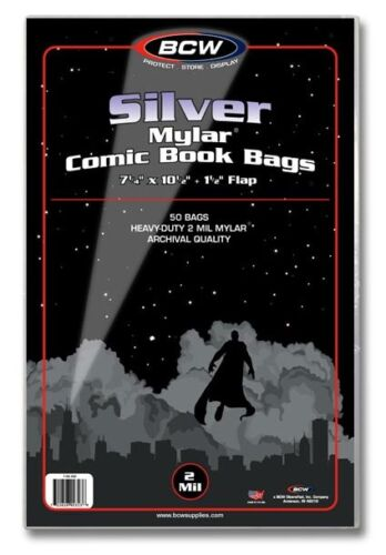 BCW BCW Mylar Silver Comic Book Bags 2-mil St. 50