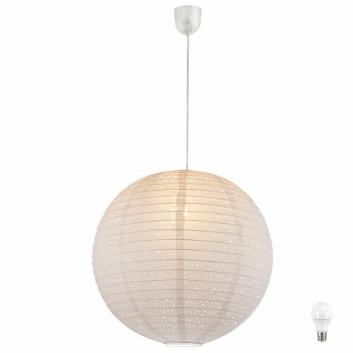 LED Hänge Pendel Leuchte Gästezimmer Kugel Lampe Papier Schirm weiß EEK A+