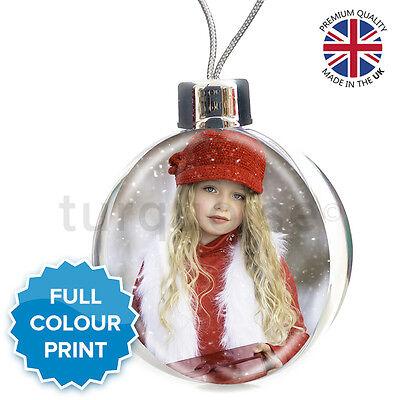 Large Personalised Christmas Xmas Photo Bauble Decoration Ornament Gift