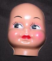 """VTG DOLL MAKING SUPPLIES, THIN PLASTIC CELLULOID 4"""" MASK FACE FOR CLOTH DOLL"""