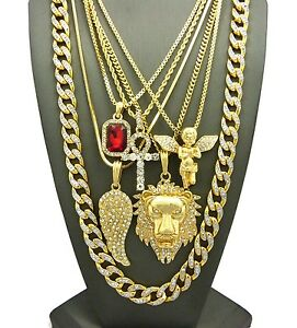 Hip-Hop-Red-Stone-Angel-Ankh-Lion-Wing-Cubic-Zircon-Stone-Chain-6-Necklace