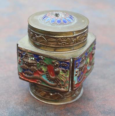 Antik Oder Vintage Messing Emaillierte 3d Dragons Chinese Box Angenehme SüßE