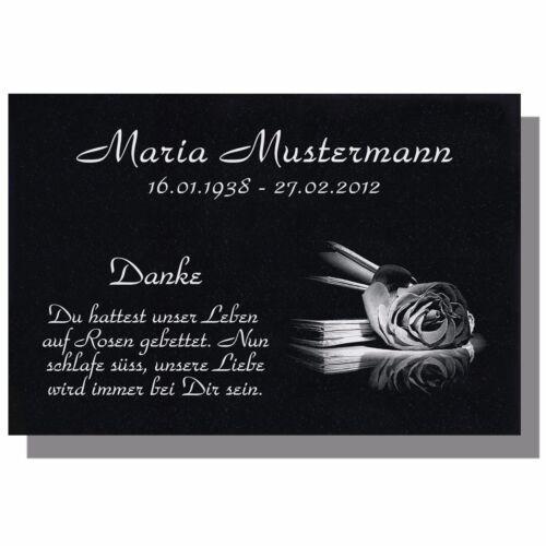 Grabstein Grabplatte Grabschmuck Granit 50x30 cm Ihre Wunsch Gravur Buch-g05