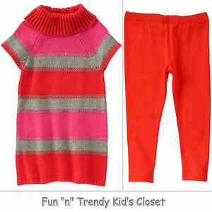 016a3bf85 NWT Crazy 8 Girls Size 4T 5T Stripe Sweater Dress   Red Leggings 2 ...