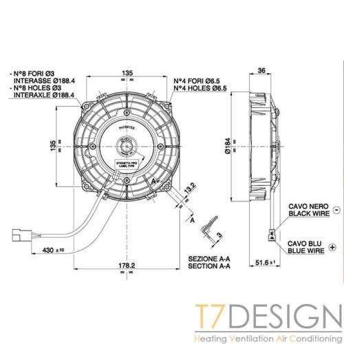 "SPAL Electric Radiator Fan 167mm 301 cfm PUSH VA22-AP11//C-50S 6.5/"""