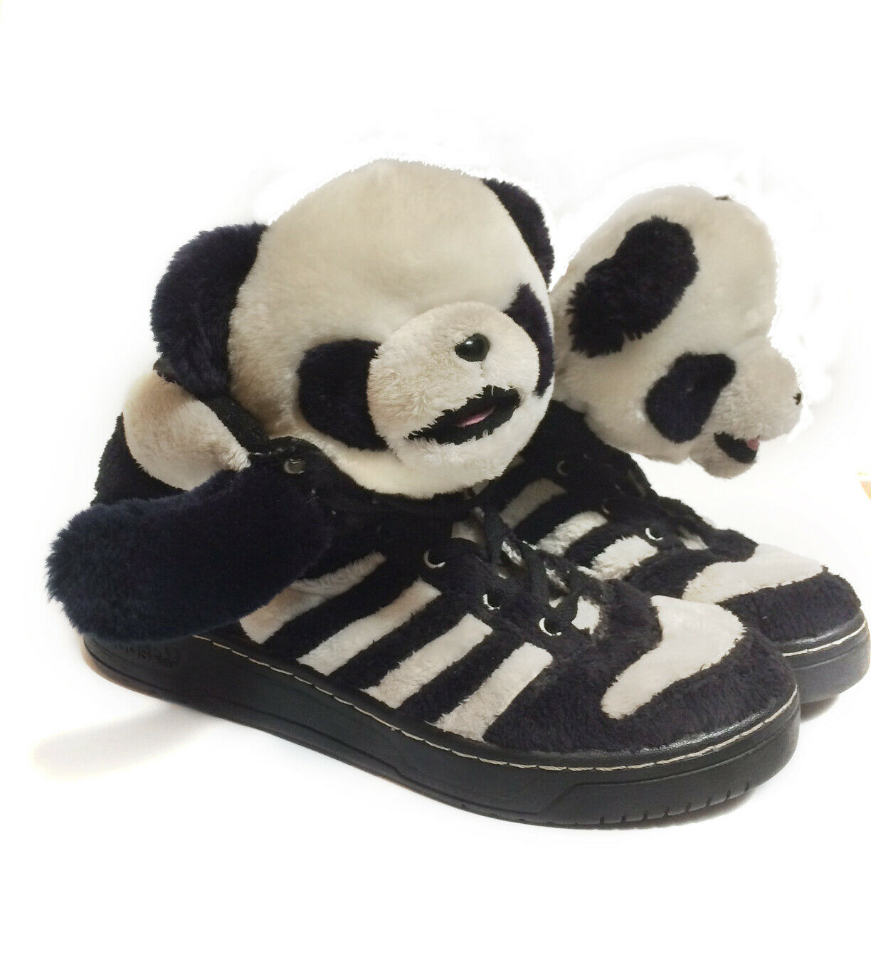JEREMY SCOTT X ADIDAS Teddy Bear Fuzzy Sneakers Black & White Mens Size 10 US